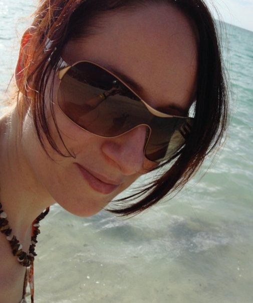 À Negril, Jamaïque, en 2008. On voit même mon bras dans mes lunettes...