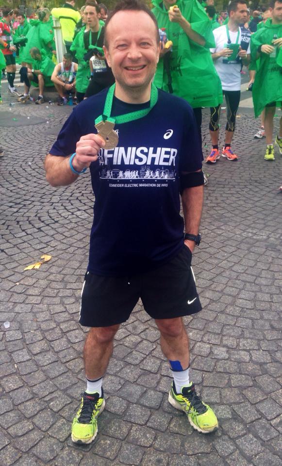 Laurent après son premier marathon